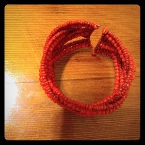 Handwoven red stone cuff bracelet